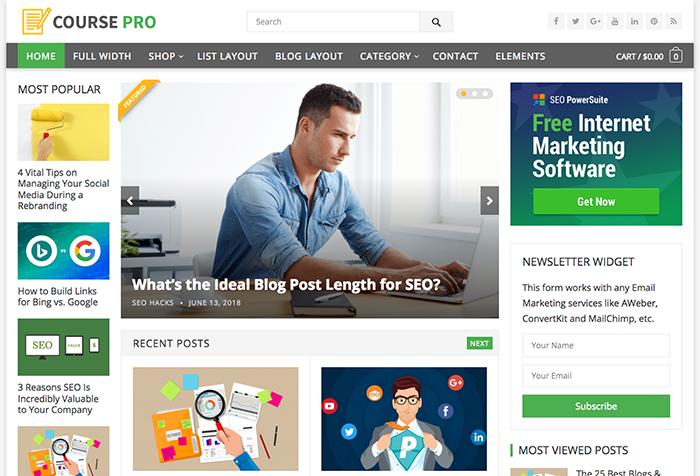 Couser Pro es un Theme para WordPress y optimizado para WooCommerce para revistas online
