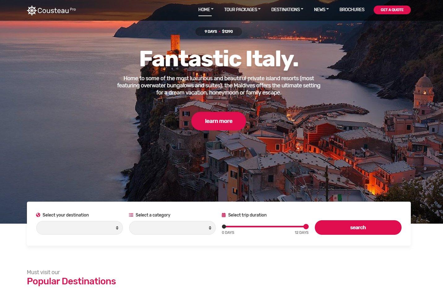 Cousteau Pro es un tema para WordPress pensado para agencias de viaje