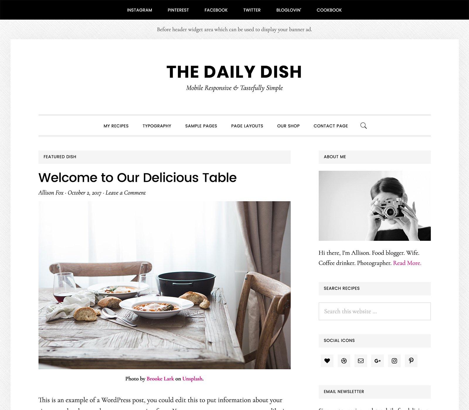 Daily Dish Pro - Un tema para Genesis Framework y preparado para WooCommerce