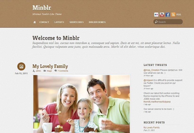 Minblr - Un theme para WordPress con un diseño sencillo.
