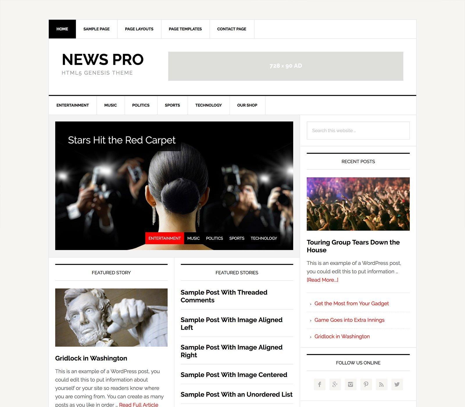 News Pro - Un tema para Genesis Framework y preparado para WooCommerce