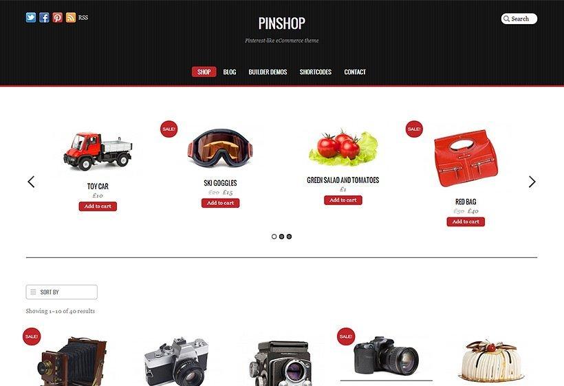 Pinshop es un theme para WordPress preparado para WooCommerce y con un diseño inspirado en Pinterest