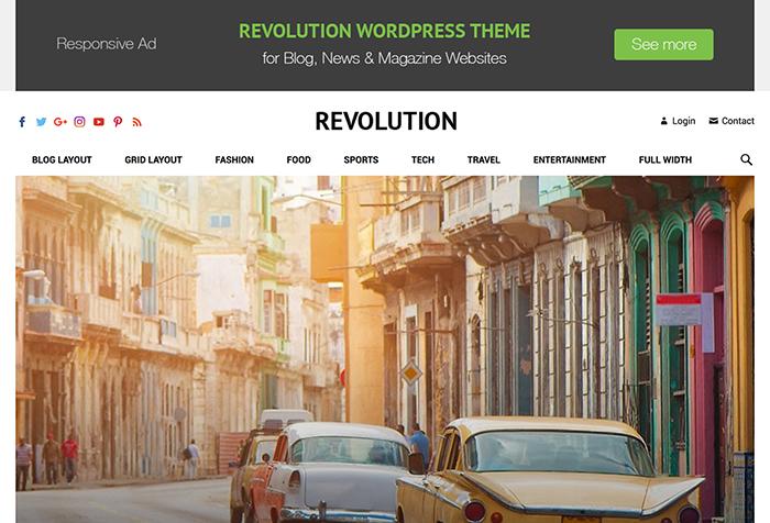 Revolution Pro es un tema o plantilla para WordPress pensado para revistas o blog