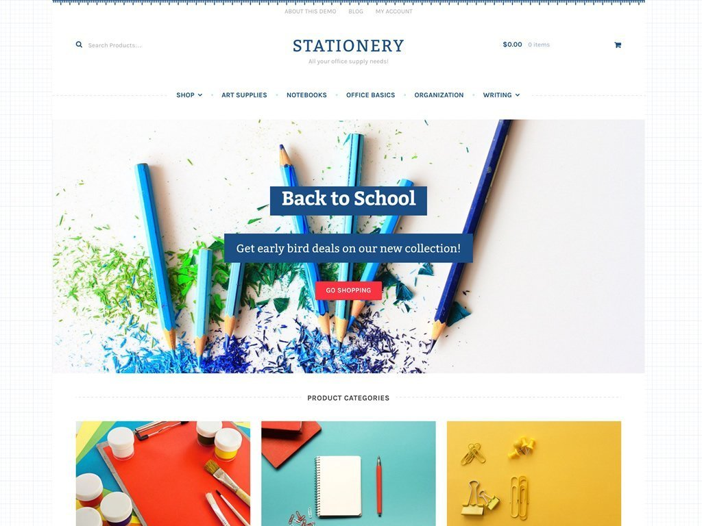 stationery - Un tema para WooCommerce que trabaja bajo Storefront