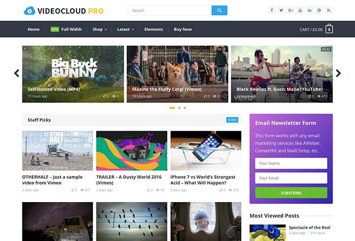 Theme para WordPress y optimizado para WooCommerce para páginas con contenido en vídeo